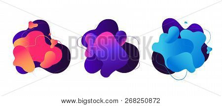 Abstract Fluid Shapes. Liquid Graphic Elements, 3d Magic Flow Dynamic Bubbles. Color Modern Vector B