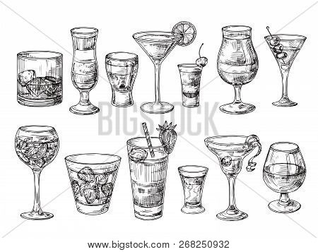 Hand Drawn Cocktail. Alcoholic Drinks In Glasses. Sketch Juice, Margarita Martini. Cocktail With Rum