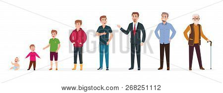 Man In Different Ages. Newborn Boy Teenager, Adult Man Elderly Person. Growth Stages, People Generat