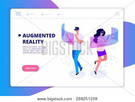 Augmented Reality Banner. People With Headset And Vr Glasses Gaming In Virtual Reality. Futuristic T