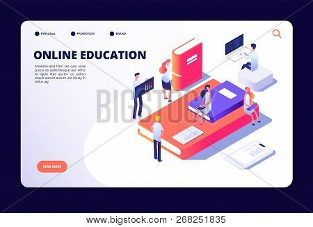 Online Education Isometric. Internet Class Training, Studying In On-line Classroom. Courses, Educati
