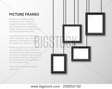 Blank Hanging Frames. Pictures, Photo Frames On Light Wall. Contemporary Vector Interior. Illustrati