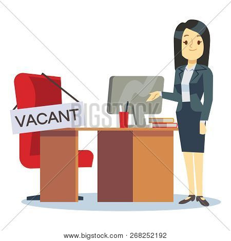 Employment, Vacancy And Hiring Job Vector Concept. Cartoon Character Hr Manager And Office Workplace