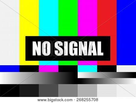 No Signal Tv Test Pattern Vector. Television Colored Bars Signal. Introduction And The End Of The Tv