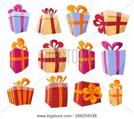 Vector Set Of Different Colorful Curved Perspective Gift Boxes. Beautiful Present Box With Overwhelm