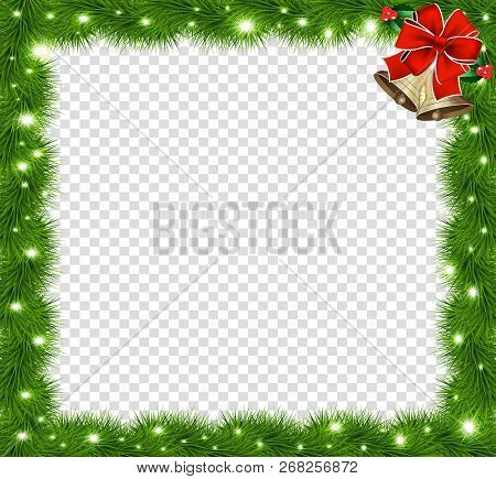 Realistic Vector Fir-tree Square Border, Frame With Red Bow And Bells Isolated On Transparent Backgr