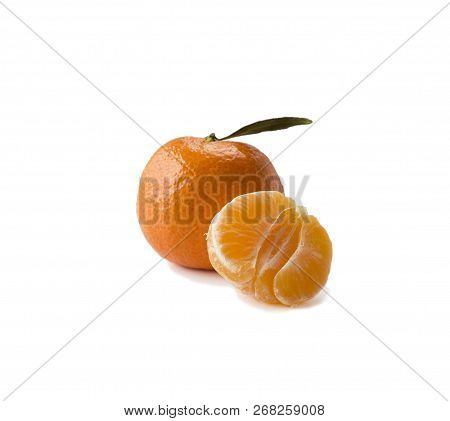 Mandarins With Copy Space For Text. Ripe And Tasty Tangerines Isolated On White Background. Clementi