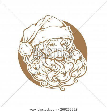 Christmas Card, Portrait Of Santa Claus With A Beard