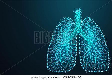 Abstract Image Of A Human Lungs In The Form Of A Starry Sky Or Space, Abstract 3d Polygonal Wirefram