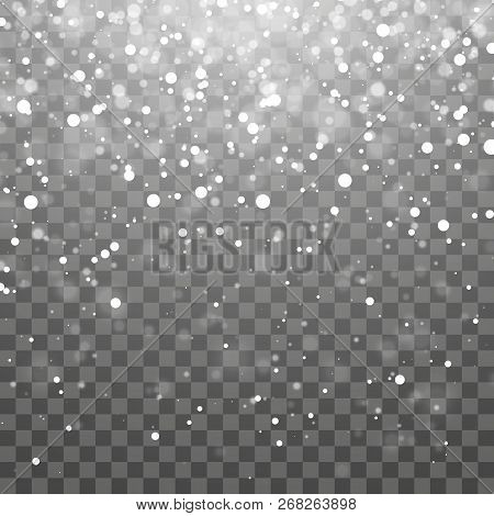 Christmas Snow. Falling Snowflakes On Dark Background. Snowflake Transparent Decoration Effect. Xmas