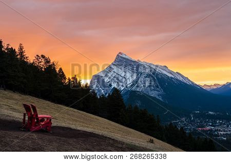 Stunning Sunrise Scenery Of Mount Rundle And Banff Town In Banff National Park In Alberta, Canada. S