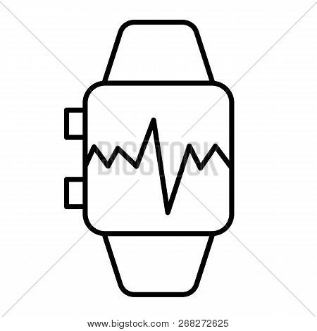 Smart Watch With Pulse Thin Line Icon. Smart Watch With Heartbeat Vector Illustration Isolated On Wh