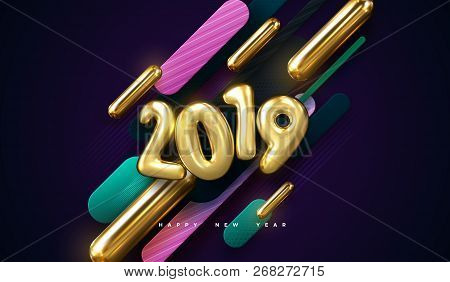Happy New 2019 Year. Vector Holiday Illustration Of Colorful 3d Geometric Primitives And 2019 Golden