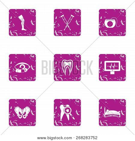 Aid Post Icons Set. Grunge Set Of 9 Aid Post Vector Icons For Web Isolated On White Background