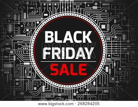 Black Friday Chipset Background. Futuristic Chipset Technology Sales Banner. Vector Black And White