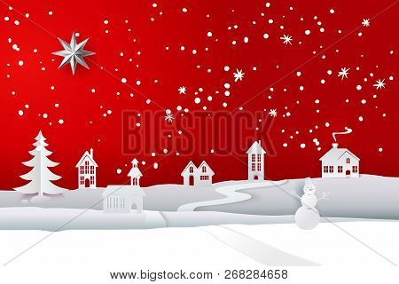 Paper Cut And Craft Winter Landscape With Evergreen Tree, House, Snowman, Snowflakes. Holiday Nature