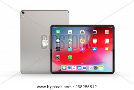 Cracow, Poland - November 12, 2018 :  Ipad Pro A New Version Of The Tablet From Apple.