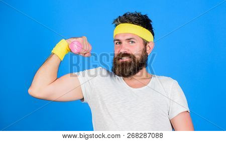 Athlete Training With Cute Dumbbell. Man Bearded Athlete Exercising Dumbbell. If You Want To Be Stro