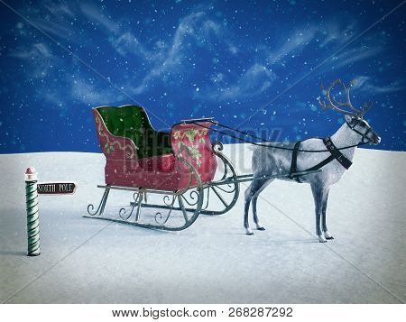 3D Rendering Of A North Pole Sign And Reindeer With Sleigh.