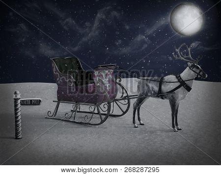3D Rendering Of A North Pole Sign And Reindeer With Sleigh At Night.