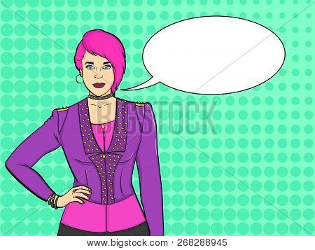 Pop Art Background. Young Girl Punk Subculture, Rockers. Imitation Comic Stich. Vector Text Bubble