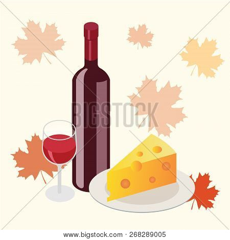 Isometric Red Wine Bottle With Glass And Cheese Piece In Autumn