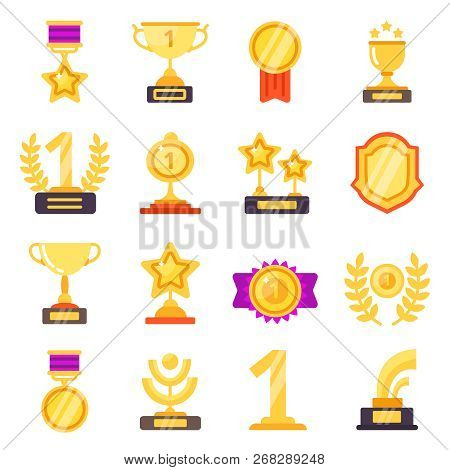 Awards Icons. Trophy Medal Prize With Ribbons For Winners Vector Flat Symbols Isolated. Trophy And M
