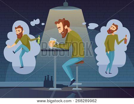 Alcoholism Concept. Addicted Man Alcoholic Dark Depression Drinking Alcohol Vodka Beer Whiskey Socia