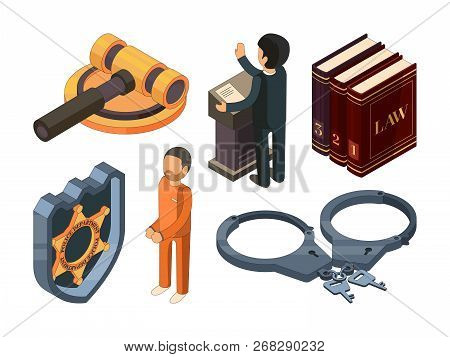 Law Justice Isometric. Legal Hamer Courtroom Punishment Prosecution 3d Vector Symbol Isolated On Whi