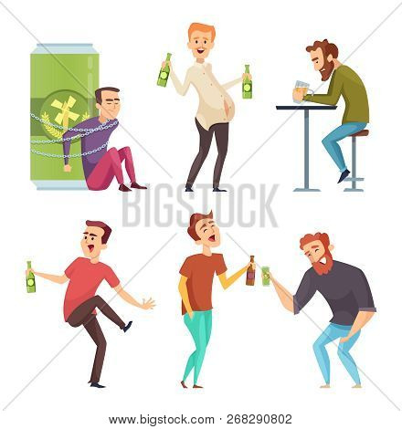 Alcoholic Character. Abuse And Addicted Man Drugs And Booze Vector Cartoon Illustrations. Alcoholism