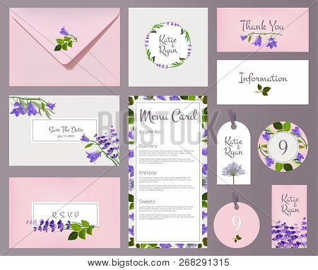 Florals Wedding Cards. Invited Placards Floral Decoration Flower Frames Vector Template. Wedding Inv