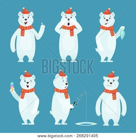Polar Bear Cartoon. Ice Snow White Funny Wild Animal In Different Poses Vector Characters. White Bea