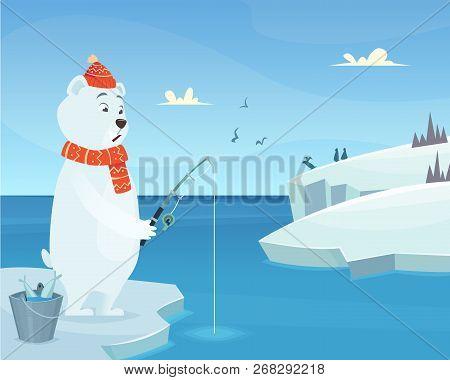 White Bear Background. Iceberg Ice Winter Animal Standing Vector Character In Cartoon Style. Bear Ca