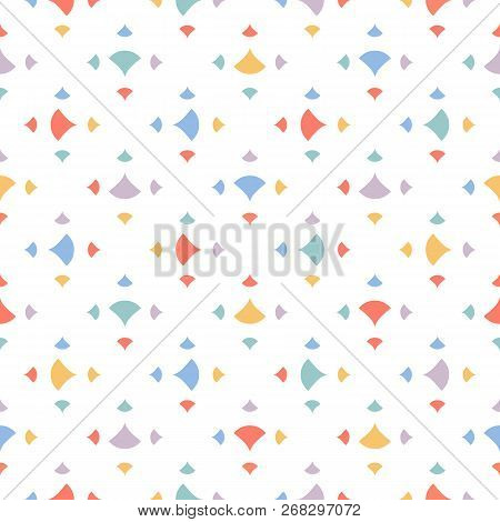 Cute Colorful Abstract Geometric Seamless Pattern With Small Triangles, Petals, Dots, Confetti On Wh