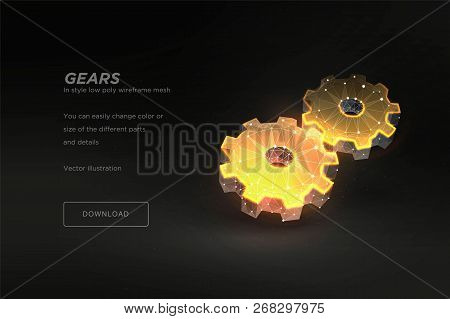Gears Low Poly Wireframe Art On Dark Background. Mechanical Technology Machine Engineering Symbol. P