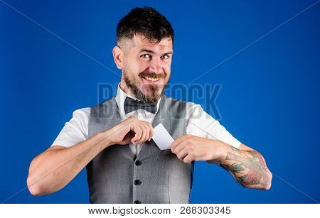Plastic Bank Card. Easy Money Credit. Man Bearded Hipster Hold Plastic Blank Card Blue Background. T