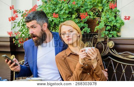 Couple In Love Sit Cafe Terrace Enjoy Coffee While Man Speak Phone. Girl Dating With Businessman. Th
