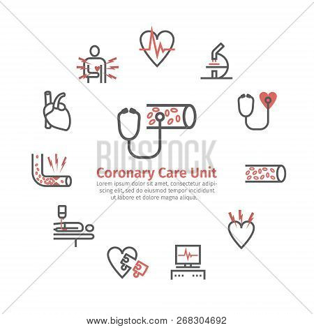 Atherosclerosis Round Banner. Line Icons. Coronary Artery Disease. Treatment. Line Icons Set. Vector