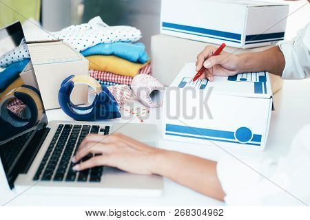 Business Start Up Sme Concept. Young Startup Entrepreneur Small Business Owner Working At Home, Pack