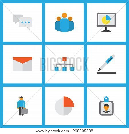Trade Icons Flat Style Set With Circle Graph, Conversation, Mail And Other Chatting Elements. Isolat