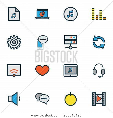 Media Icons Colored Line Set With Setting, Media Server, Monitor And Other Playlist Elements. Isolat