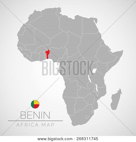Map Of Africa With The Identication Of Benin. Map Of Benin. Political Map Of Africa In Gray Color. A