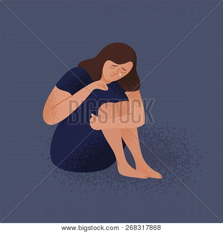 Sad Crying Lonely Young Woman Sitting On Floor. Depressed Unhappy Girl. Female Character In Depressi
