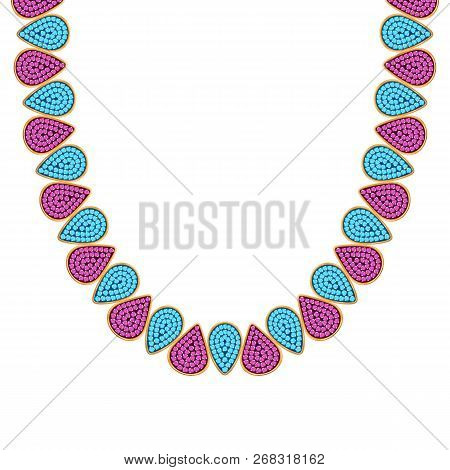 Chunky Chain Necklace Or Bracelet With Colorful Seed Beads Drops.