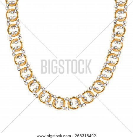 Chunky Chain Golden Metallic Necklace Or Bracelet With Diamonds Gemstones.
