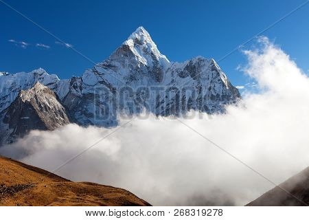 Evening View Of Mount Ama Dablam On The Way To Mount Everest Base Camp, Khumbu Valley, Solukhumbu, S