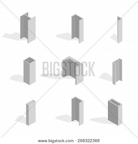 Steel Beam Isolated On White Background. Design Elements For The Construction And Reconstruction. Fl
