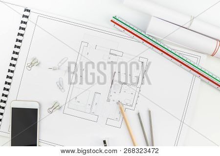 Creative Flat Lay Overhead Top View Blueprints Architectural Flat Project Plan And Office Supplies O