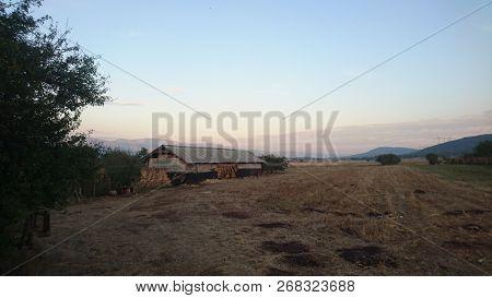 Idyllic old farm in Serbia, vintage peaceful landscape