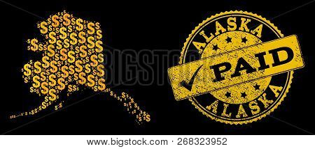 Golden Combination Of Dollar Mosaic Map Of Alaska State And Paid Grunge Seal Stamp. Vector Seal With